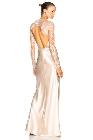 Michelle Mason Bias Gown With Lace Shrug In Neutrals