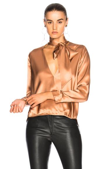 Michelle Mason For Fwrd Wrap Blouse In Terracotta