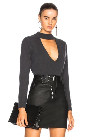 Michelle Mason For Fwrd Choker Sweater In Gray