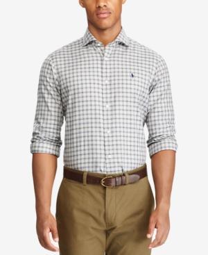 Polo Ralph Lauren Men's Lightweight Twill Plaid Shirt In Grey/Black Multi