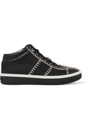Jimmy Choo Woman Bells Chain-Trimmed Leather Sneakers Black