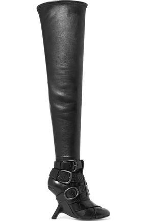 Tom Ford Woman Buckled Leather Over-The-Knee Boots Black