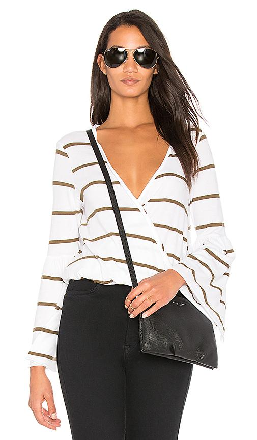 Chaser Cotton Jersey Surplice Top In White