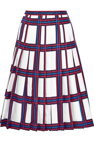 Tory Burch Harper Pleated Plaid Silk-Twill Skirt