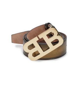 Bally Mirror B Embossed Belt, Gold In Mirror Gold