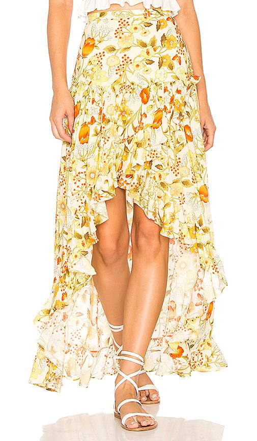 Spell & The Gypsy Collective Sayulita Frill Split Skirt In Yellow