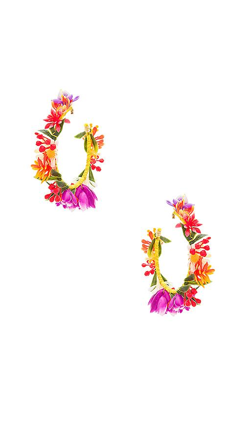 Mercedes Salazar Candongas Pequenas Flores Earrings In Yellow