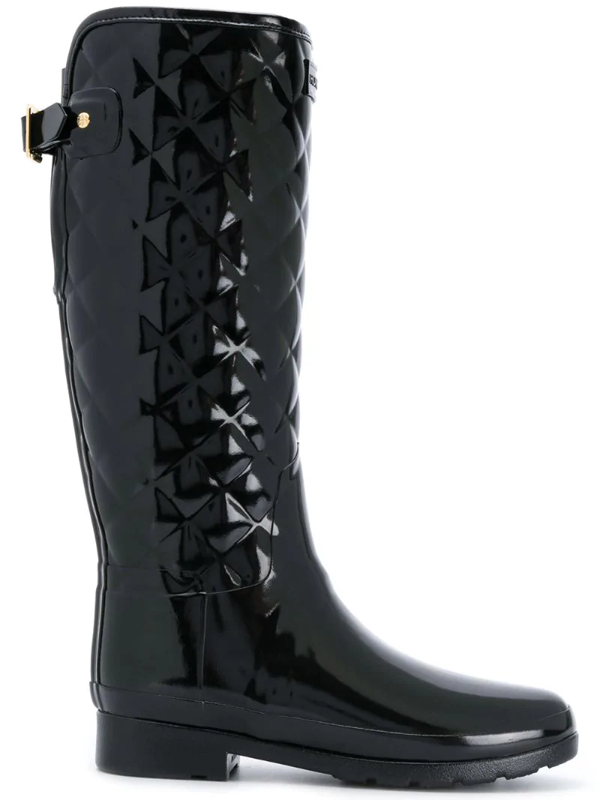 Hunter Original Refined High Gloss Quilted Waterproof Rain Boot In Black