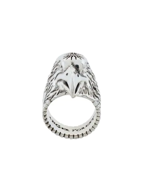 Gucci Sterling Silver Angry Forest Eagle Head Ring In Metallic