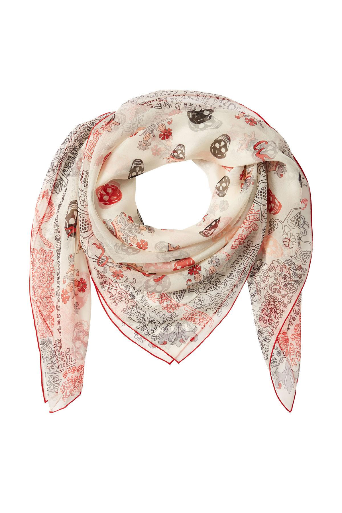 Alexander Mcqueen Printed Silk Chiffon Scarf In Multicolored