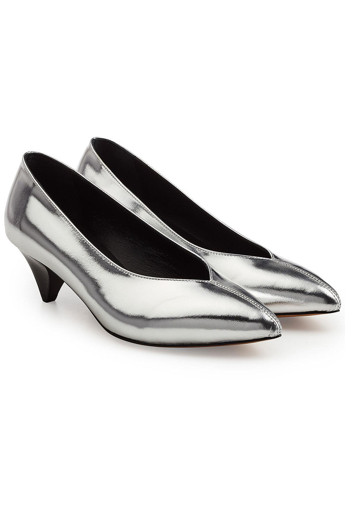 Isabel Marant Metallic Leather Pumps In Silver