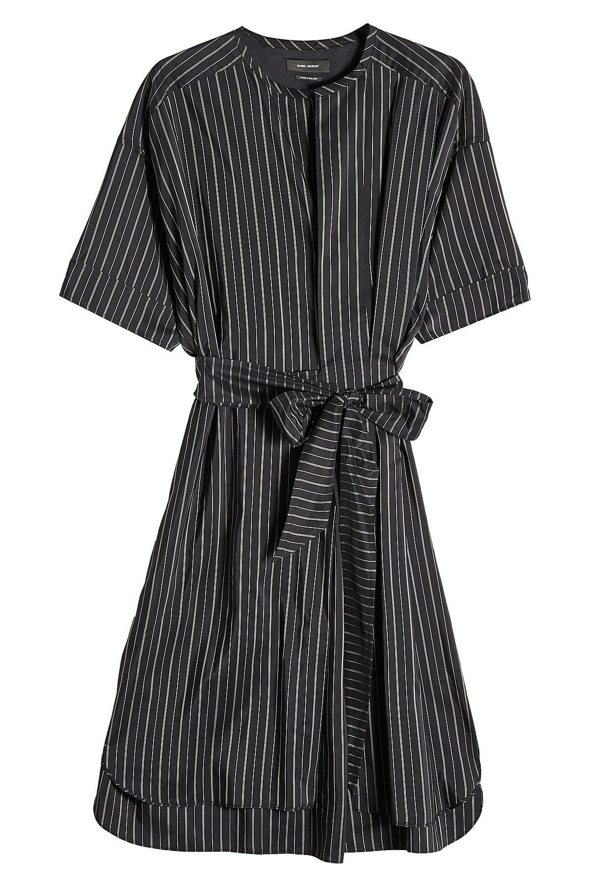 Isabel Marant Striped Dress With Silk In Black