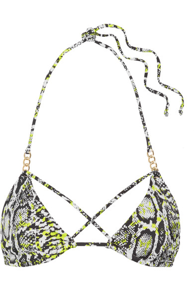 L'Agent Mercades Embellished Printed Triangle Bikini Top