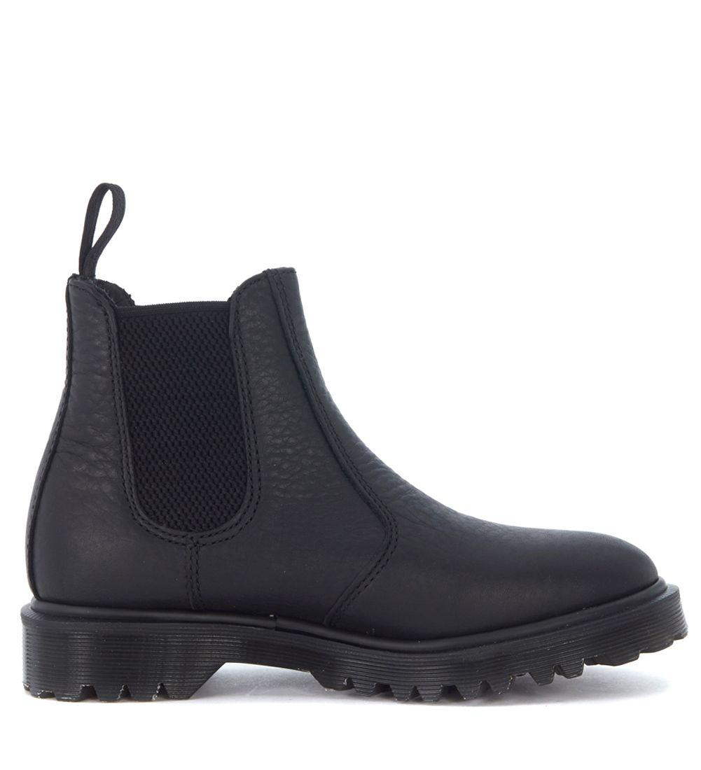 Dr. Martens Black Soft Leather Beatle In Nero