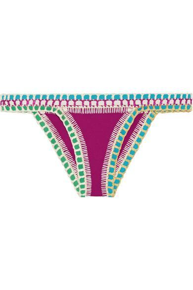 Kiini Coco Crochet-Trimmed Triangle Bikini Briefs In Magenta