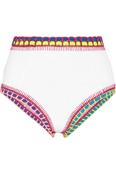 Kiini Yaz Crochet-Trimmed Bikini Briefs In White