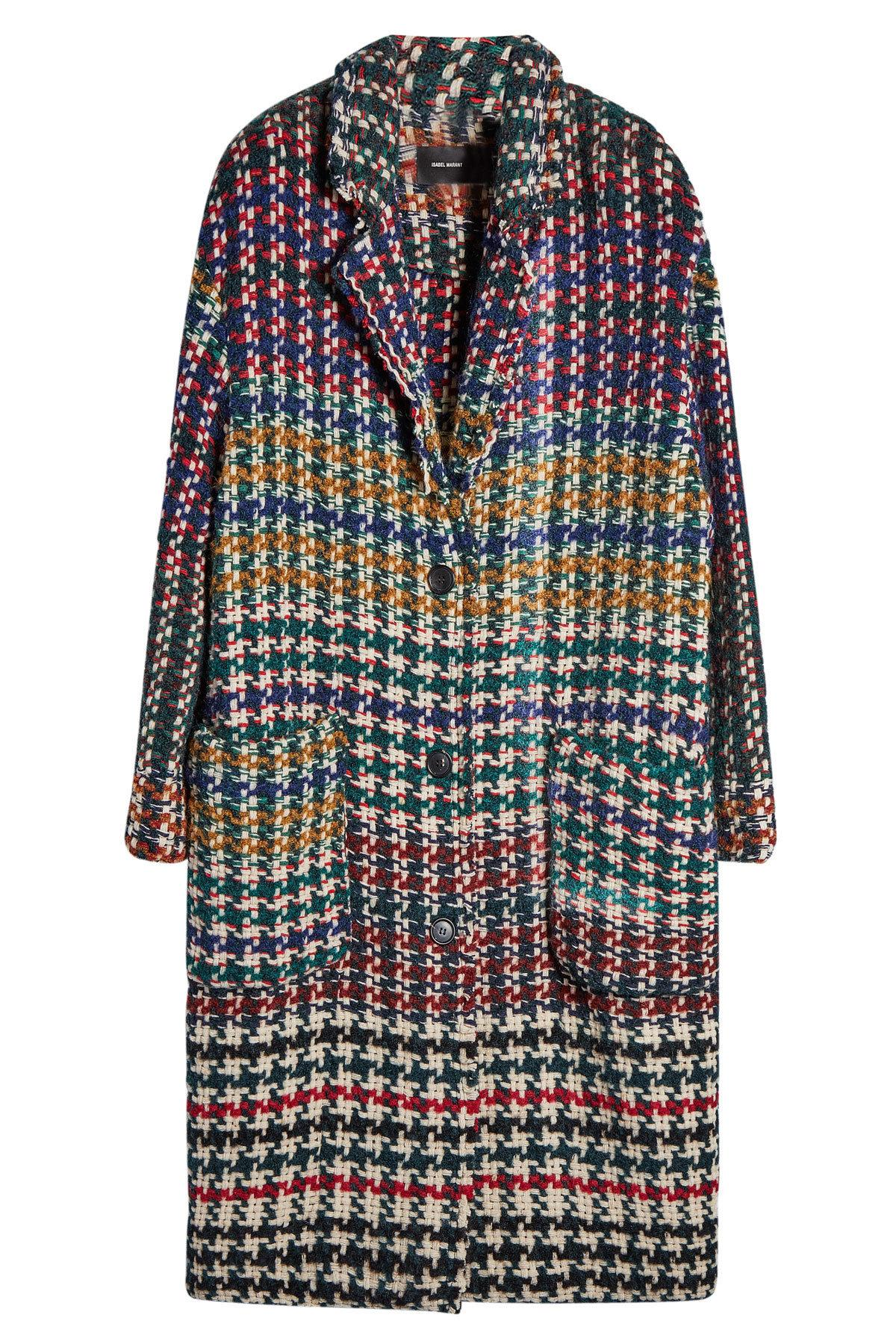 Isabel Marant Coat With Wool, Alpaca And Mohair In Multicolored