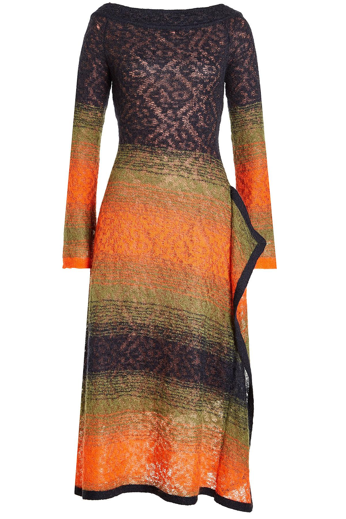 Peter Pilotto Printed Dress With Mohair And Wool In Multicolored