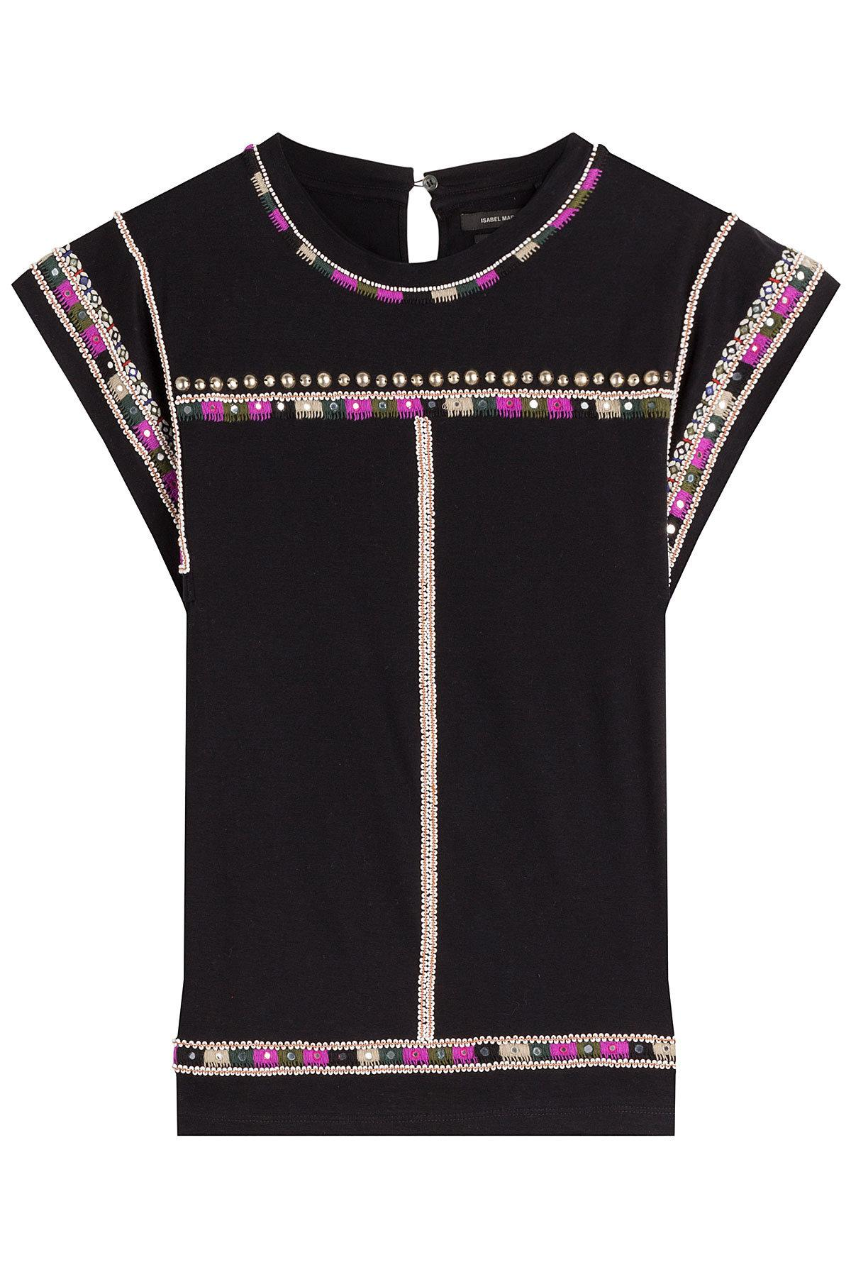 Isabel Marant Embellished And Embroidered Cotton Top In Black