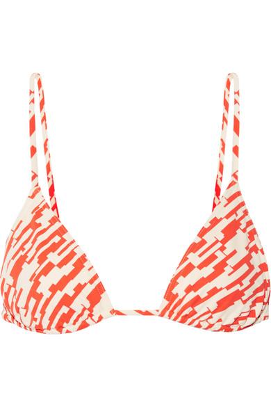 Eres Mouna Printed Triangle Bikini Top In Bright Orange
