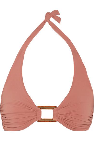 Melissa Odabash Paris Embellished Halterneck Bikini Top In Brick