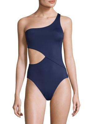 Solid & Striped Claudia One-Shoulder One-Piece Swimsuit In Navy