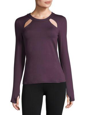 Alo Yoga Mantra Long-Sleeve Fitted Performance Top W/ Cutouts In Eggplant