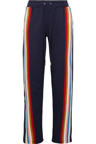 Alexa Chung Striped Jersey Track Pants In Eavy