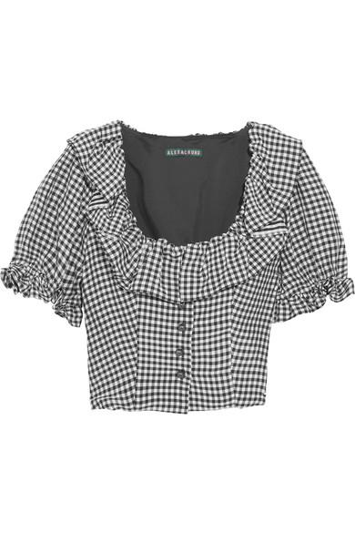 Alexa Chung Gingham Ruffle-Trimmed Cropped Top In Black
