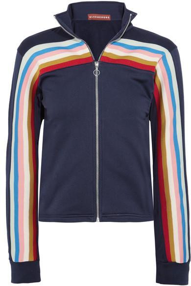 Alexa Chung Rainbow Stripe Outseam Jersey Track Jacket In Midnight Blue