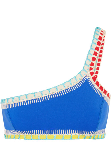 Kiini Tuesday One-Shoulder Crochet-Trimmed Bikini Top In Blue