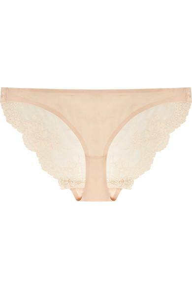 Stella Mccartney Smooth & Lace Stretch-Jersey And Lace Briefs In Beige