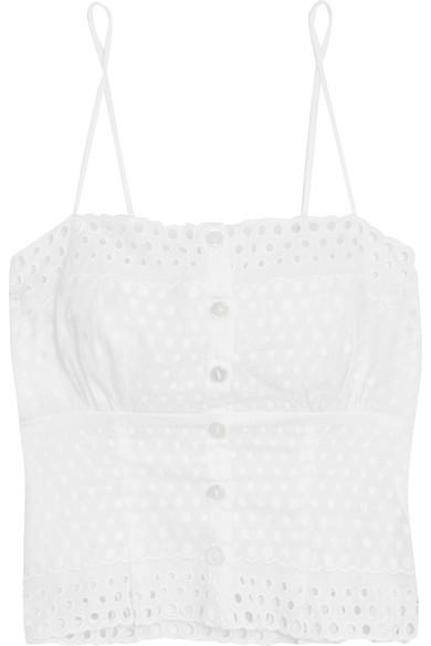 Hanky Panky Eyelet Broderie Anglaise-Trimmed Embroidered Chiffon Camisole