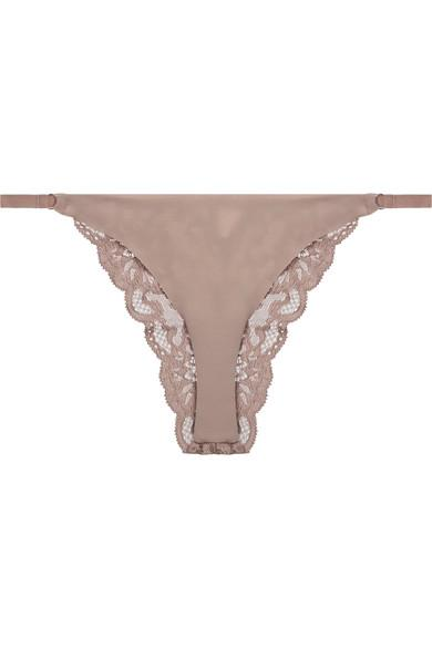 Fleur Du Mal Stretch-Jersey And Lace Briefs In Taupe