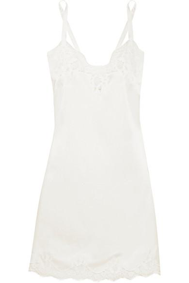 Dolce & Gabbana Lace-Trimmed Stretch Silk-Blend Satin Chemise In White