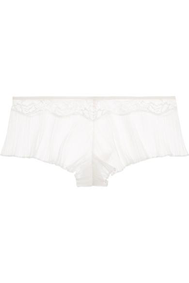 La Perla Blossoms Leavers Lace-Trimmed Pleated Stretch-Tulle Briefs In White