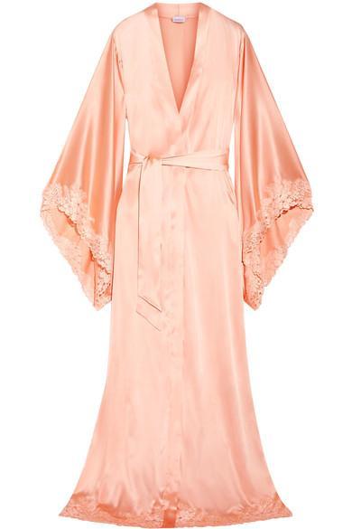 La Perla Azalea Leavers Lace-Trimmed Satin Robe