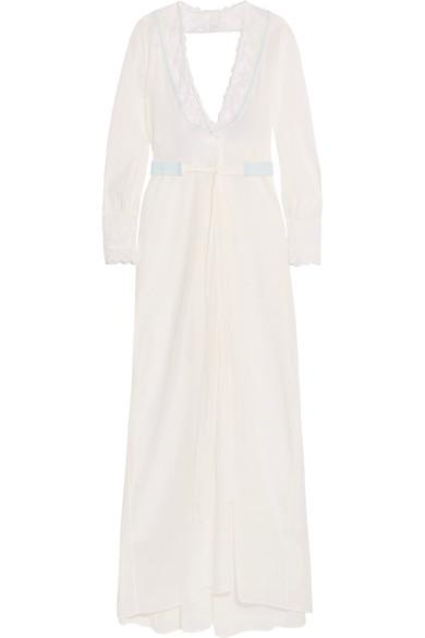 5de60a13a01 La Perla Hampton Court Lace-Trimmed Stretch-Silk Georgette Robe In White