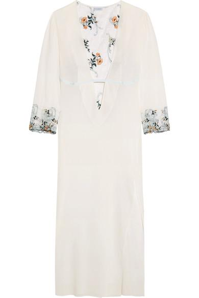 La Perla Hampton Court Embroidered Lace-Paneled Stretch-Silk Georgette Nightdress In White