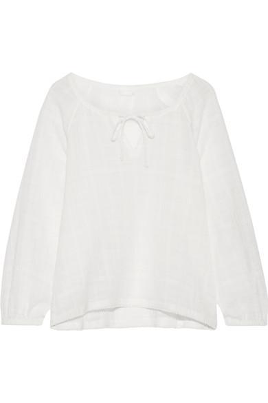 Skin Crinkled Cotton-Gauze Pajama Top In White