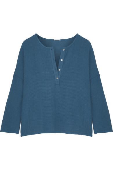 Eberjey Silvana Cotton-Gauze Pajama Top In Petrol