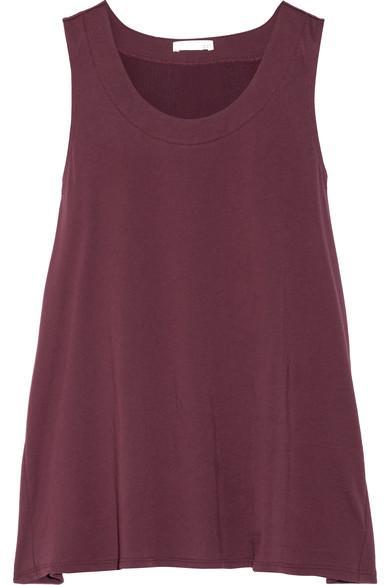 Skin Gauze-Trimmed Pima Cotton-Jersey Pajama Top In Grape