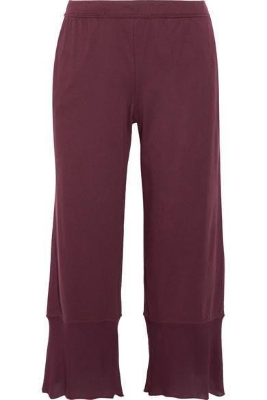 Skin Gauze-Trimmed Pima Cotton-Jersey Pajama Pants