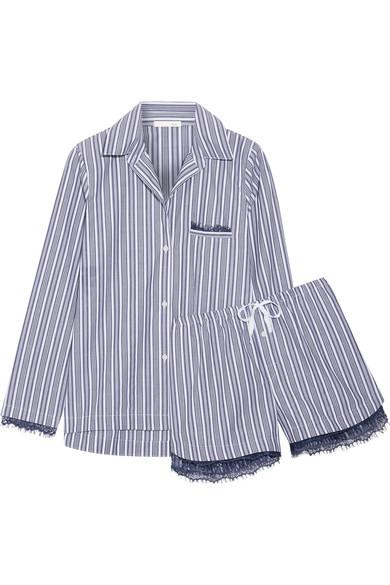 Skin Lace-Trimmed Striped Cotton Pajama Set