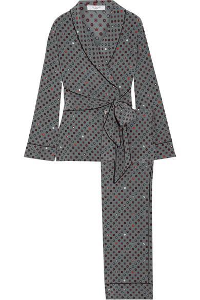 Equipment Odette Printed Washed-Silk Pajama Set In Dark Gray