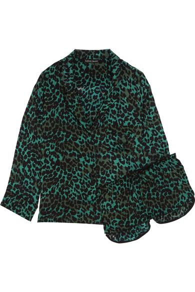 Love Stories Jude Xl And Audrey H Leopard-Print Satin Pajama Set In Emerald
