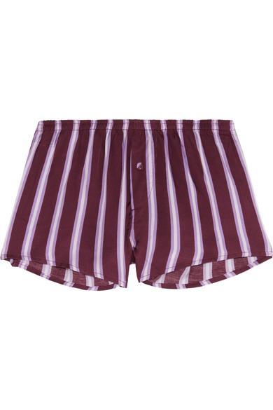 Love Stories Sunday Striped Satin Pajama Shorts In Plum