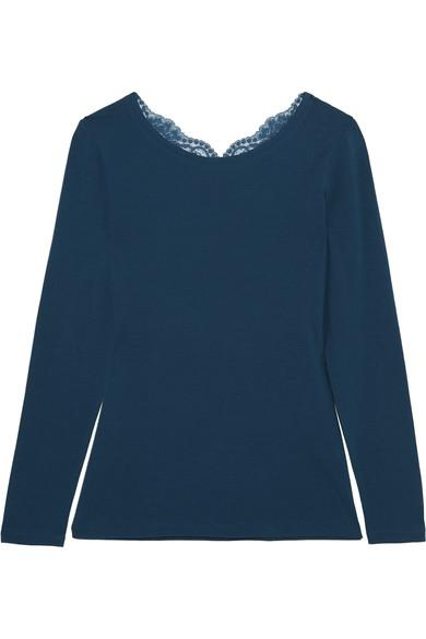 La Perla Souple Lace-Trimmed Stretch-Cotton Jersey Pajama Top In Petrol