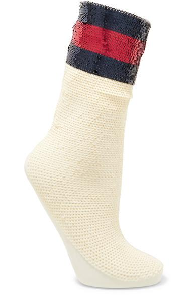 Gucci Striped Sequined Stretch-Mesh Socks In Ivory