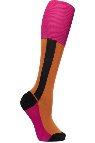 Marni Color-Block Cotton-Blend Socks In Orange